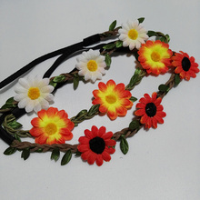 Lovely Girls Sand beach Fabric Sunflowers Headbands for Holiday Fashion Hair Ornaments Suede Braids Hairbands(China)