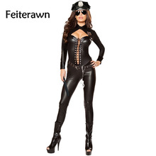 Feiterawn 2017 Halloween Costumes for Women Sexy Adult New Year Cosplay 6pcs Frisky Officer Costume DL89036