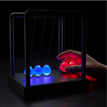 Light Up Newtons Cradle Steel Balance Ball  Kinetic Energy Multi Color  Home Office Science toy