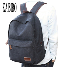 KAISIBO Canvas Men's Backpack Female Solid Casual Backpacks Laptop Bagpack Black 4 Colors Rucksack Women's Backpack Mochila