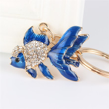 Lovely Blue Goldfish Fish Cute Crystal Charm Purse Handbag Car Key Keyring Keychain Party Wedding Birthday Gift(China)