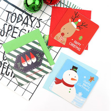 New Santa Claus Merry Christmas Tree Paper Greeting Postcards Wishes Craft DIY Kids Festival Greet Cards Gift Kawaii Stationery