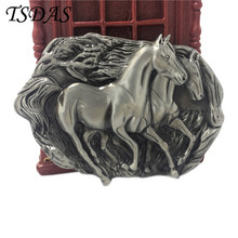 3D Mens Boys Silver Western Cowboy Two Running Horses Metal Belt Buckle Cool Amazing Buckle Jean's accessories