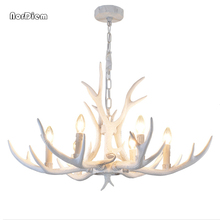 Modern Resin Antlers Chandeliers Lighitng Large White Candle kitchen chandelier E14 Resin Deer Horn Pendant Lamp Home Decor(China)