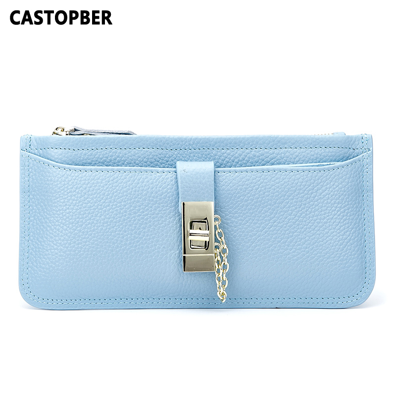 Fashion Women Party Day Clutches Designer Genuine Leather Cowhide Lock Ladies Wallet Purse Womens Bag High Quality Famous Brand<br>