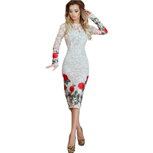 White Lace Dress Women Beautiful Rose Flower Embroidery Dress Sexy See Through Sleeve Bandage Evening Party Elegant Women Desses