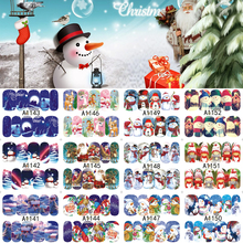 12 Sheets XMAS Nail Art Water Transfer Sticker Full Cover Decals Merry Christmas Snowman Stickers Wrap Tip Decoration A1141-1152(China)