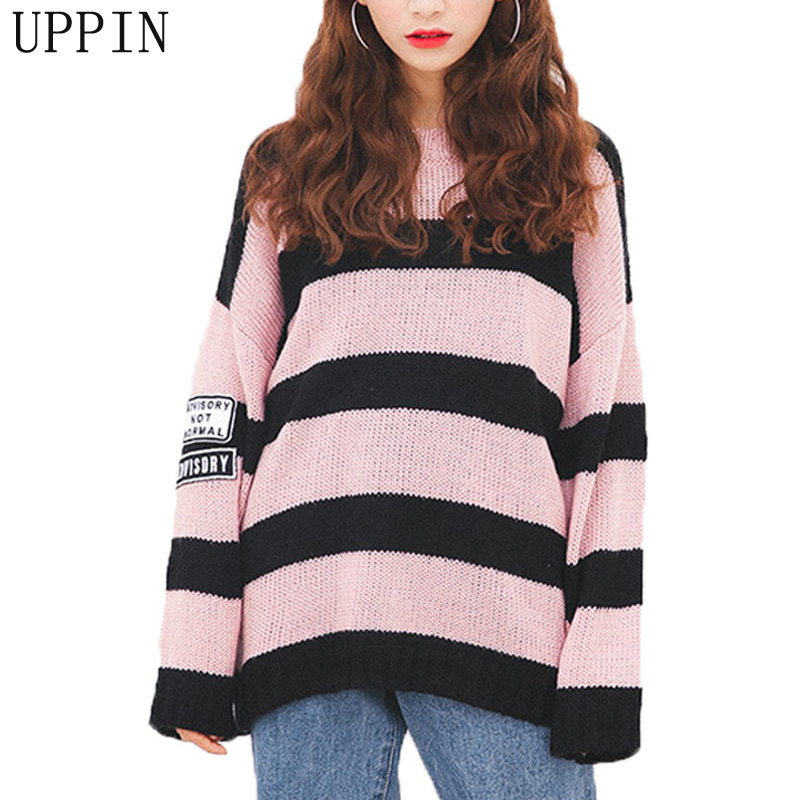 UPPIN 2017 Autumn Winter College Fashion Sweater Women Fight Color Stripes Sleeves Patch Cloth Horse Hair Jacket Sweater Female(China)