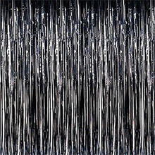 3 ft. x 8 ft Metallic Black Foil Fringe Curtain Shimmer Curtain Birthday Decor New Halloween Christmas New Year Decorations