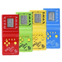 Kid's Childhood Classic Tetris Game Hand Held LCD Electronic Game Toys Fun Brick Game Riddle Handheld Chirldren Game Console(China)