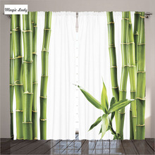 Curtains Kitchen Windows Asian Decor Collection Branches Bamboo Stalk Tropics Plants Green White Bedroom 2 Panels Set 145*265 sm