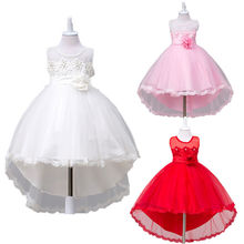 2017 New Toddler Kids Girls Princess Dress Ball Gown Lace Party Dresses Sleeveless Back Bow Child Girl Fancy Dress