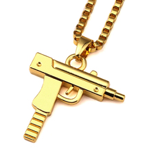 NYUK Gold Chain Pistol Pendant Unisex Submachine Gun Pendant Chain Maxi Necklace For Men Women Hip Hop Fashion Jewelry Gifts(China)