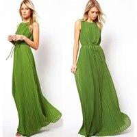European Style 2016 New Green Elegant Pleated Maxi Dress Women Party  Sleeveless Floor-Length Dress 94ebf73e516c