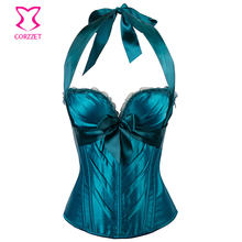 Green Satin Bows Halter Neck Victorian Corsets And Bustiers Sexy Push Up  Corset Lingerie Plus Size Women Gothic Clothing Korset e0ec87751f20