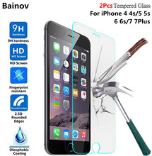 Bainov 2Pcs/lot 9H Tempered Glass for iPhone 4 4s 5 5s 6 6s Plus Explosion-proof Screen Protector film for iPhone 7 7Plus
