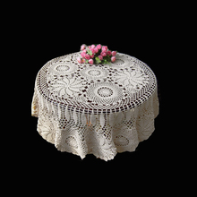 127cm Round Shape Hand made Crochet Vintage Knit Retro Decorative Hook Engraving Flower Weaved/Knitted Round Tablecloth(China)