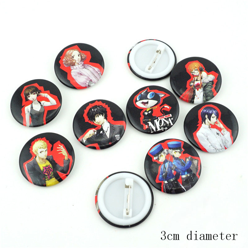 9pcs Sets Persona 5 Cosplay Badge Pin Button Brooch Bags Garniture Gift