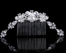 2016 Wedding Bridal Hair Pins Flower Crystal Butterfly Hair combs tiara wedding bridal bridesmaid jewelry accessories(China)