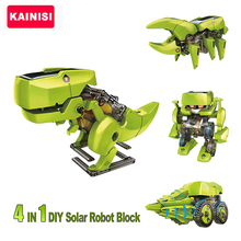 So cool 4 in 1 DIY solar toy Block Kit Robot Dinosaur Educational Solar Power Kits Novelty Solar Robots Gift For Child boy gril