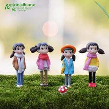 4pcs/set Cute Resin Crafts Decorations Miniature girl Fairy Gnome Terrarium Christmas Xmas Party Garden Gift