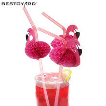 50pcs Cute 3D Flamingos Straw Flexible Plastic Drinking Straws Birthday Wedding Baby Shower Pool Party Decor Supplies