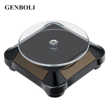 GENBOLI 110*110*50mm Solar Automatic Rotating Stand 360 Turntable Rotary Showcase for Ring Necklace Bracelet Watch Phone Display