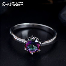 SHUANGR New Luxury 1pc Silver-Color Ring AAA Shining Purple Crystal Color Cubic Zirconia Party for Women's Wedding Finger Rings(China)