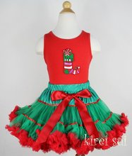 2 Pieces Set - Christmas Red Green Satin Binding  Pettiskirt & Red Tank Top with Christmas Stocking / Pettitop Size 1-7Y