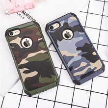 Army Camo Design Phone Cases 2 in 1 Plastic rubber shell for iPhone 7 7Plus durable Armor Camouflage back Cover with Logo window
