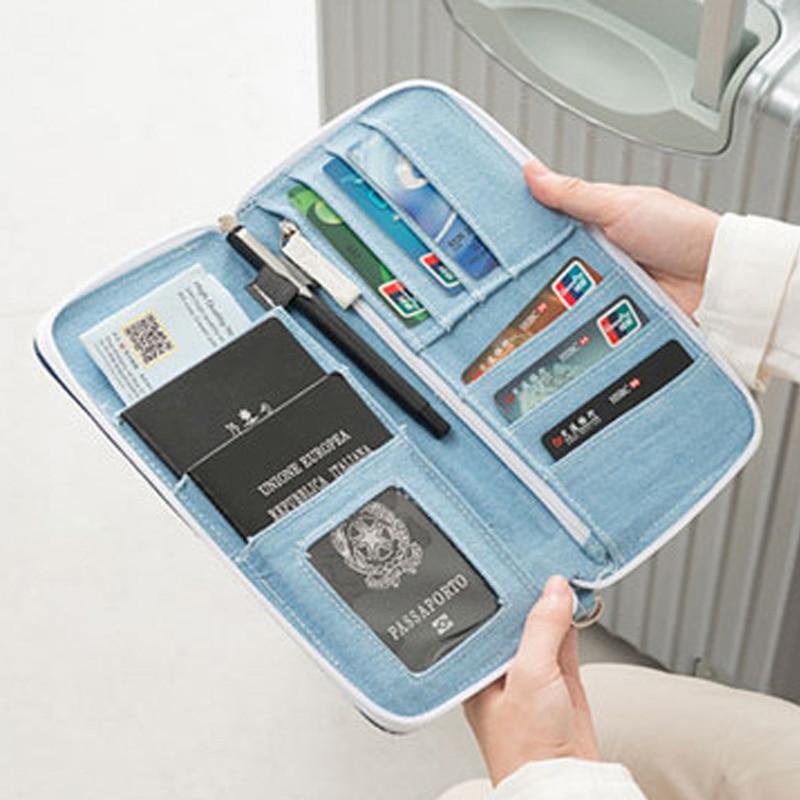 Men Women Travel Passport Cover Document Credit Card Organizer Cover Money Unisex Denim Wallet ID Card Holder Case Strap PC0048 (4)