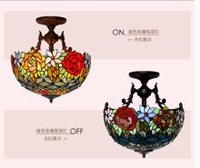Free Shipping Tiffany Novelty Rose Pendant Child Bedroom Pendant Lamps for Balcony Home Decoration AC E27 100% Guaranteed D40cm