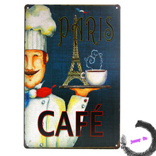 Retro Paris Caffe French Cafe Rustic Tin Sign Room Coffee shop Wall Decor Right E38