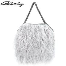 Estelle Wang Casual Tote Faux Fur Totes Handbags Women Fashion Winter Chain Crossbody Bags Pvc Leather Small 3 Chains Bag 2 size(China)