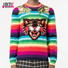 Jastie Rainbow Stripes Tiger Jumper Winter Sweater Women Wool Pullover 2017 Fashion Embroidered Tops Casual Knitting Jumper(China)
