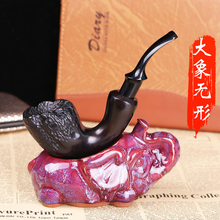 Fashion Men Pure Wooden Pipes for Smoking Weed Black Ebony Rosewood Carving Smoke Grass Tobacco Pipe 9mm Cigarettes Filter Core(China)
