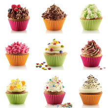 12pcs/lot Multi-color Silicone Cake Liner Case Muffin Cupcake Mold Round Shape Baking Mould Dia 7cm MF82