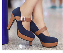thick high heel shoes buckle women sexy fashion lady platform pumps P2583 hot sale EUR size 34-39