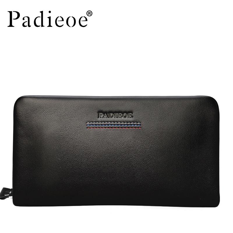 PADIEOE Men Wallet Genuine Leather Dull Purse Fashion Casual Long Business Male Clutch Wallets Mens handbags Mens clutch bag<br>