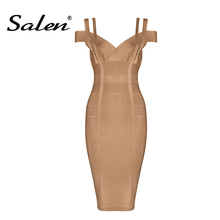 Buy Salen Women's Bandage Dress New Sexy Shoulder Knee Length Party Dress Lady 2017 for $29.48 in AliExpress store