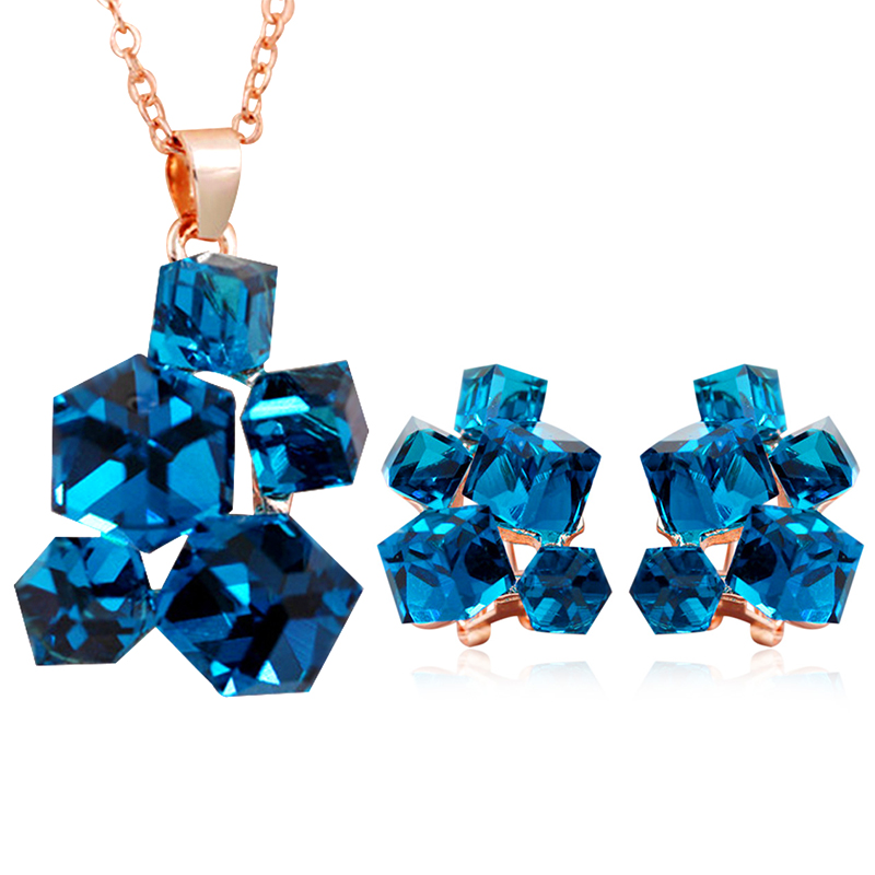 Geometric Crystal Jewelry Sets Necklaces & Pendants Stud Earrings*
