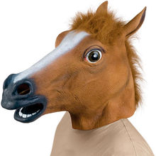 Hot Sale Full Face Halloween Horse Mask Novelty Creepy Head Latex Brown Costume Theater Prop Party Mask Christamas