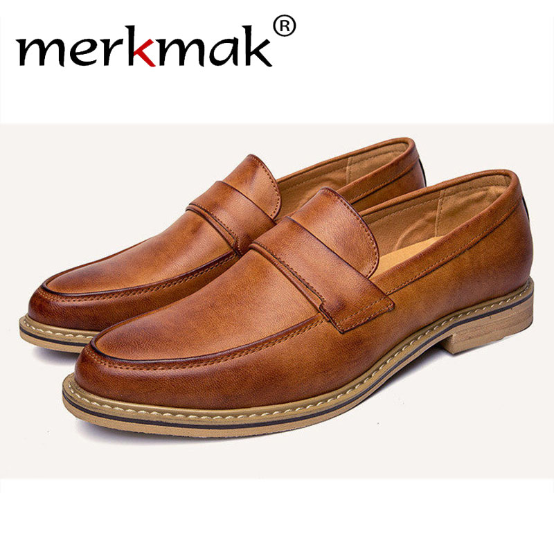 Merkmak Fashion Oxfords Shoes Men British Style Casual Loafer Business Men Flats Footwear Slip On Soft Moccasins Chaussure Homme<br>