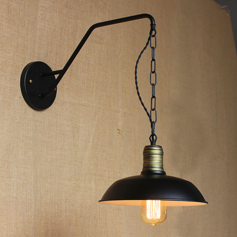 contemporary Contracted individuality creative lamp industrial chain hoist the dining room the bedroom wall lamp bed lamp E27<br>