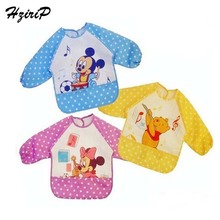 Hot 2016 Baby Bib Long Sleeve Waterproof Feeding Bib Clothing For Lunch Cartoon Animal Mouse Bear Bibs Babador Free Shipping