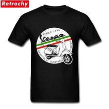 Custom Print Vespa T Shirt Vintage Italy Male Short Sleeved O-neck Cotton Tee Shirt Men's Unique Father's Day Gifts Plus Size(China)