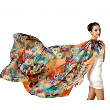 New Silk Scarves Women Pure Silk Scarf Floral Printed 100% Natural Silk Scarves Shawls Oversize Long Sunscreen For Office Ladies(China)