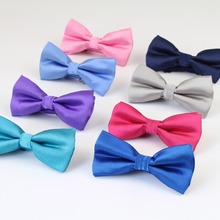 Men Terylen Bow Tie Flexible Bowtie Smooth Necktie Soft Bling Butterfly Decorative Pattern Solid Color Ties