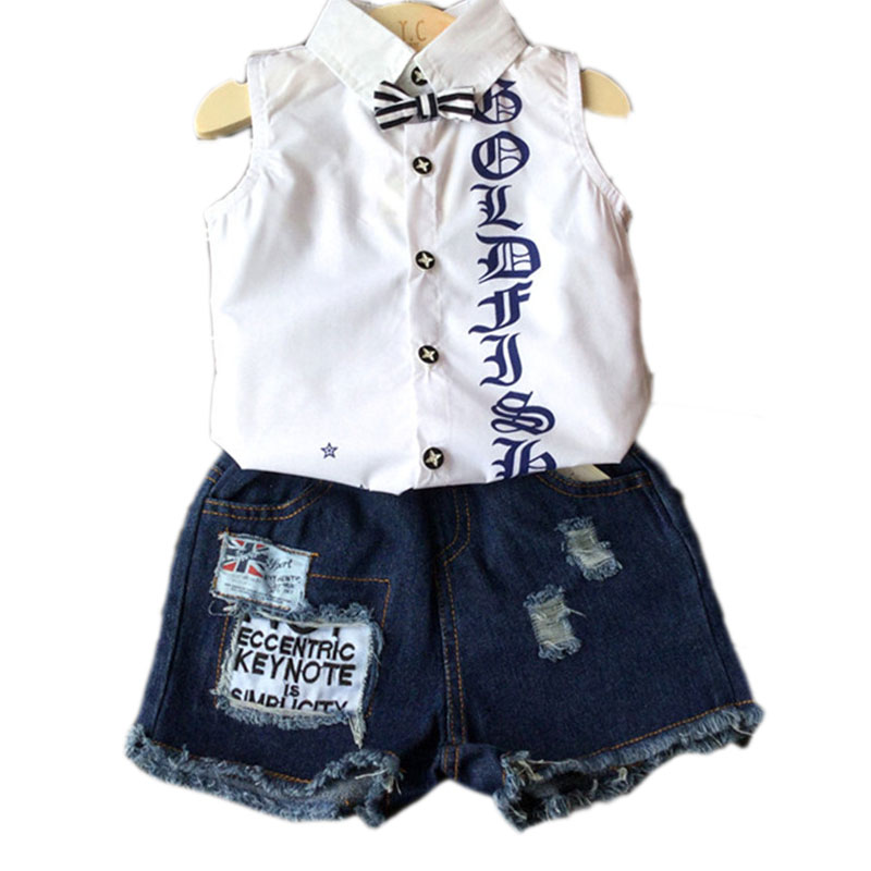 2017 New Fashion Boy Clothing Set White Sleeveless Print Tie Blouse Ripped Shorts Jeans Boy Set 2pcs Suit Toddler Boys Clothing<br><br>Aliexpress