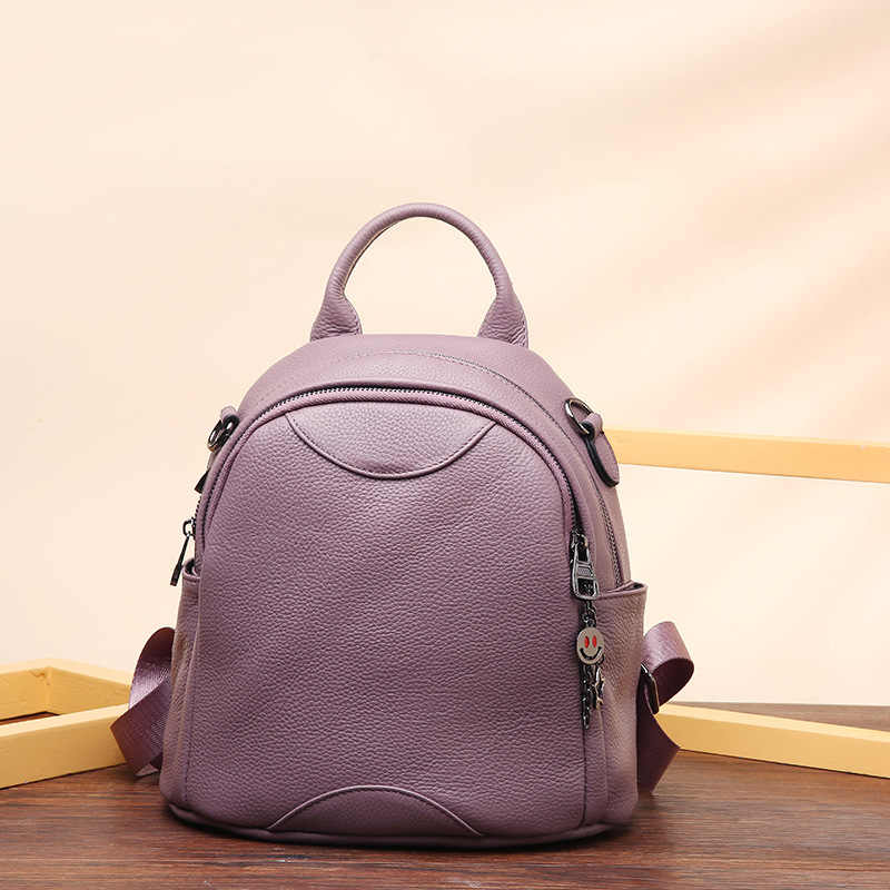 bd2076d4dd PASTE Female Backpack Genuine Leather Women Backpacks Purple School Bag  Multifunctional Travel Shopping Back pack on